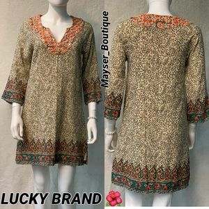 LUCKY BRAND 🍂Printed Linen Shift Tunic Dress